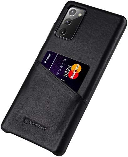 StilGut Cover kompatibel mit Samsung Galaxy Note 20 Hülle mit Kartenfach, Hülle aus Leder, Kartenhülle - Schwarz Nappa