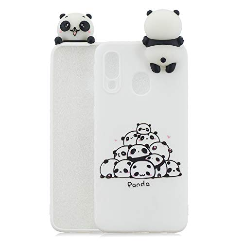 SEEYA Hülle für Samsung Galaxy A40 Silikon, Weich TPU Gummi Case Ultra Dünn Handyhülle 3D Anime Muster Niedlich Druck Design Silikonhülle Schutzhülle für Samsung A40 Panda Familie