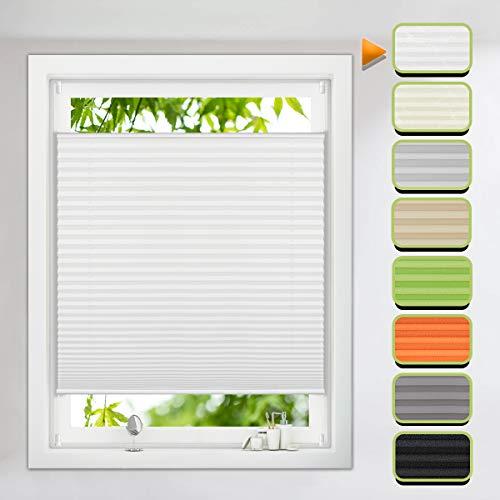 Magiea Plissee Klemmfix verspannt Jalousie Rollo 70x100cm Weiß Faltrollo ohne Bohren für Fenster Tür lichtdurchlässig