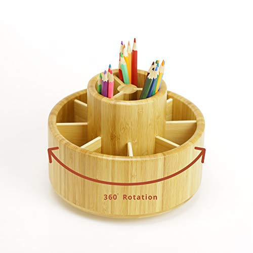Bamboo Rotating Art Supply Desk Organizer,Pencil Holder Organizer, Desktop Storage Caddy for Pen,Colored Pencil,Crayon,Paint Brushes,360 Degree Spinning,Works in Classroom,Art Studio&Office (1T)