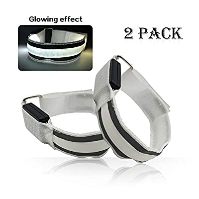 2 Pack LED Armband for Running Cycling Exercising Glow Light up in Dark Night Running Gear Safety Reflective Sports Event Wristbands with USB Charging Cord (White)