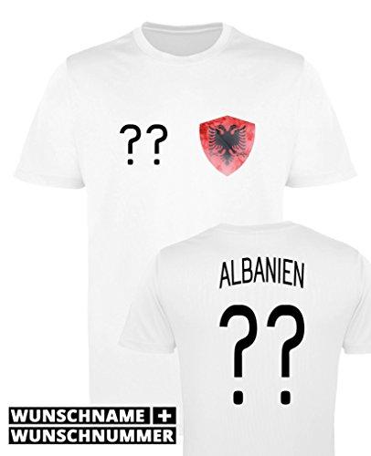 Comedy Shirts - Albanien Trikot - Wappen: Klein - Wunsch - Jungen Trikot - Weiss/Schwarz Gr. 152-164