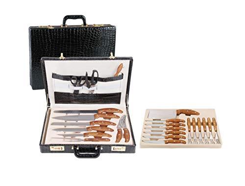 Messerset mit Koffer 25 teilig Besteckset Messer Küchenmesser Pizzamesser