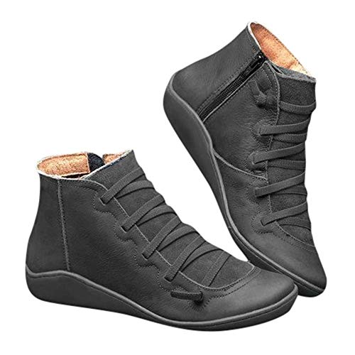 2019 Los Zapatos de Botines Planos para Mujer, Soporte del Arco, Cómodos Botines de Deslizamiento Plano para Mujer, Zapatos Casuales para Mujer Otoño Invierno con Hebilla con Cremallera (38, Negro)