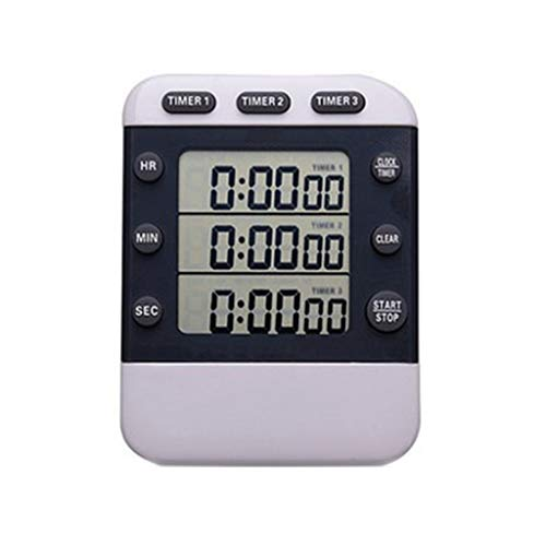 Temporizadores Timer Lab Timer Remitente hacia adelante/hacia atrás Recordatorio multicanal Multi-Grupo Timer 3 Grupos Strong Magnet Back Temporizador para niños (Color : White)