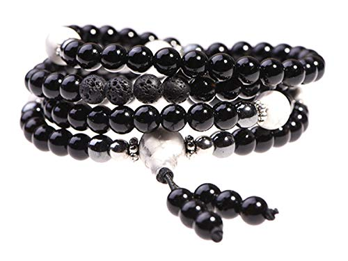 TamLyn Concepts Prayer Beads with Black Onyx and Lava Rock for Aromatherapy - Japa Mala Beads Necklace for Grounding - Beaded Bracelet - Includes Bonus Remote Reiki Session