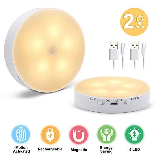 Nachtlicht mit Bewegungsmelder USB Wiederaufladbar, DTNO.I LED Schrankbeleuchtung Treppenbeleuchtung LED mit Bewegungsmelder warmweiss für Flur, Treppe, Schlafzimmer, Küche & Schrank (2 Stück)