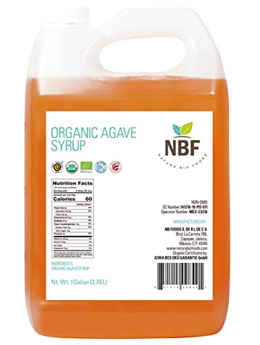 NBF Organic Blue Agave Nectar Syrup (128 Oz) Natural Low Glycemic Index Sweetener Non-GMO & Gluten Free