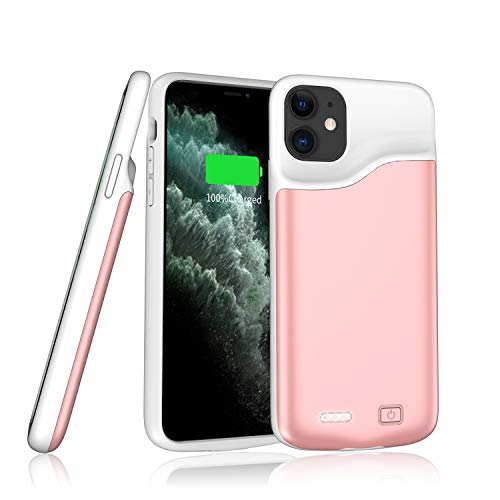 Qingzi Battery Case for iPhone 11, [6000mAh] Portable Protective Charging Case Compatible with iPhone 11 6.1' Backup Power Bank Slim Extended Battery Rechargeable Cover - Rose Gold