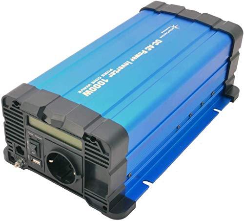 solartronics Spannungswandler FS1000D 12V 1000/2000 Watt Reiner Sinus BLAU m. Display FS Serie Inverter Wechselrichter