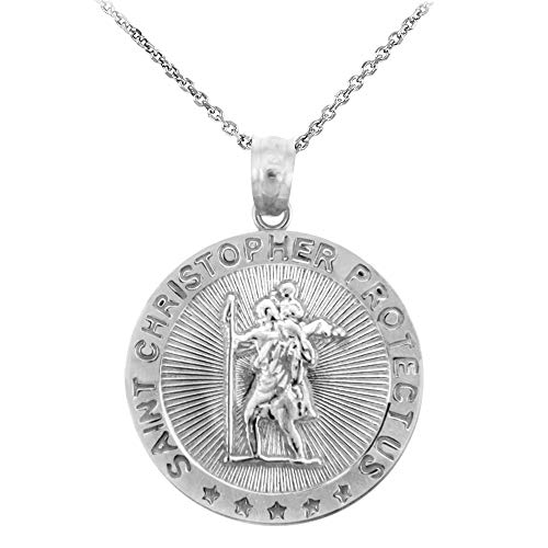 St. Christopher Sterling Silver 925 Coin Pendant Necklace (Available Chain Length 16'- 18'- 20'- 22') C