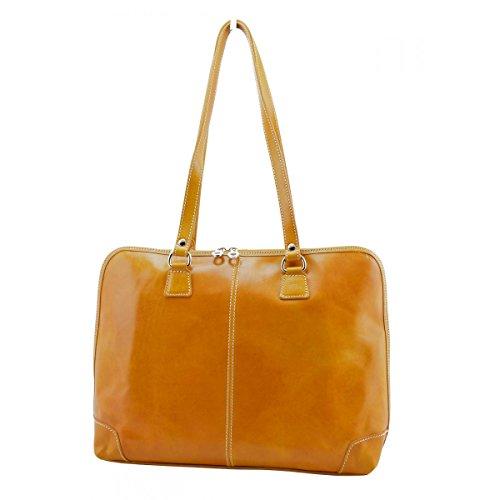 Maletín Para Mujer En Piel Verdadera 1 Compartimento Color Amarillo - Peleteria Echa En Italia - Business