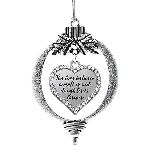 Inspired Silver - Mother and Daughter Bond Charm Ornament - Silver Open Heart Charm Holiday Ornaments with Cubic Zirconia Jewelry