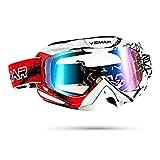 Galatée Serie de rayas colores deportivos moda Motocross Vidrios Prueba Viento UV Goggle para...