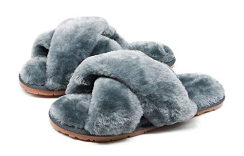 Women's Fuzzy Crossband Fluffy Furry Fur Slippers Flip Flop Winter Warm Cozy House Memory Foam Sandals Slides Soft Flat Comfy Anti-Slip Spa Indoor Outdoor Slip on (06/Grey, 8.5-9.5)