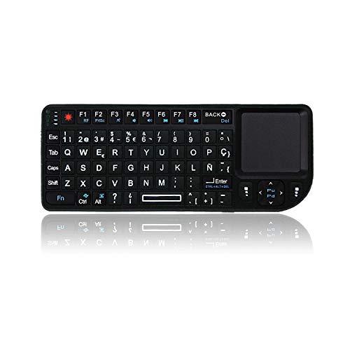 Camisin A8 Teclado Español Air Fly Mouse 2.4G ToucHPad Color retroiluminado para proyector de voz Plug y