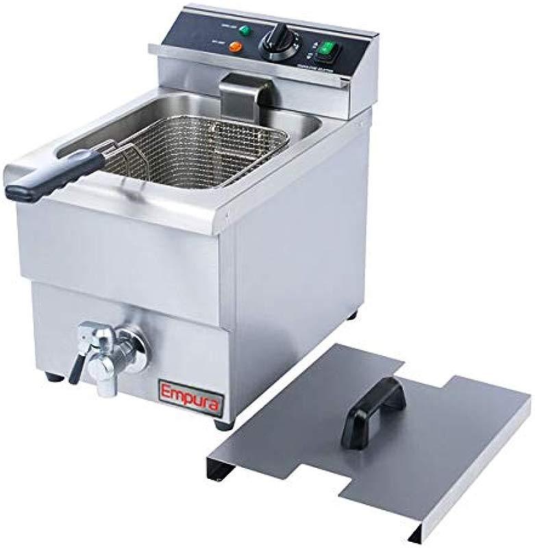 Empura Commercial Countertop Single Tank Deep Fryer W Faucet 16 H X 18 W X 11 25 D 208V 240V 2700 3600W