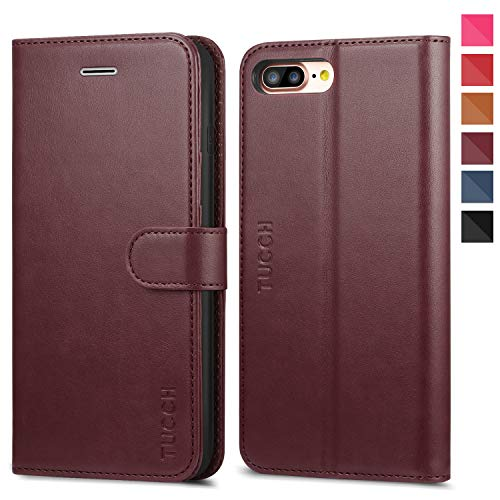 TUCCH iPhone 8 Plus Wallet Case, iPhone 7 Plus Case, Premium PU Leather Flip Folio Case with Card Slot, Stand Holder, Magnetic Closure [TPU Interior Case] Compatible with iPhone 7 Plus/8 Plus,Wine Red