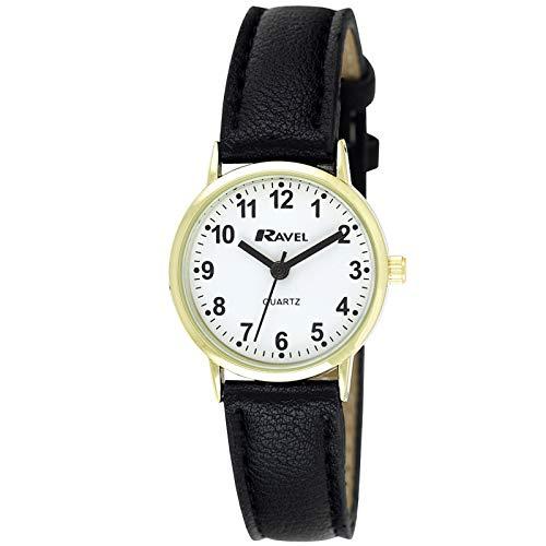 Ravel - Reloj clásico para mujer, esfera de números y tono negro/dorado.