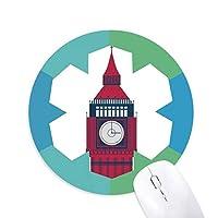 塔ビッグベンは英国のランドマークの旗マークイラストパターン 円形滑りゴムの雪マウスパッド