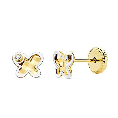 Pendientes oro bicolor 18k niña 5.5mm. mariposa fondo tallado detalle circonita cierre tornillo