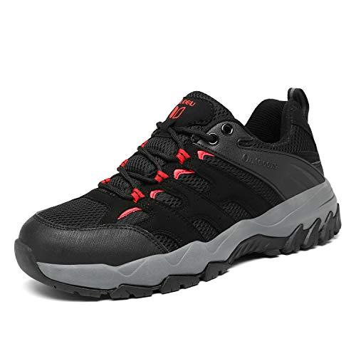 FOGOIN Wanderschuhe Herren Damen Leicht Low Trekkingschuhe rutschfest Atmungsaktiv Outdoor Walking Schuhe Sportlich Trekking-& Wanderhalbschuhe, Schwarz, Gr.42*