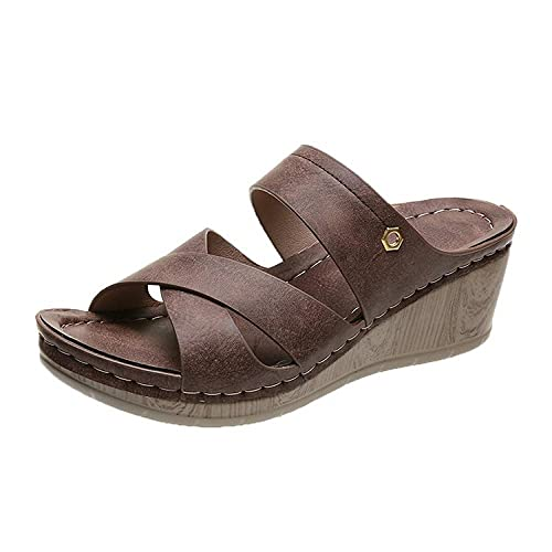 ypyrhh Palabra de Mujer con Sandalias,Sandalias de Pendiente Zapatillas,Confort Casual Zapatillas de Gran tamaño-marrón_41,Tira Ancha Suela con Agujero