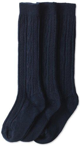 Jefferies Socks Big Girls' School Uniform Acrylic Cable Knee High (Pack of 3), Navy, Medium