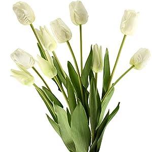 Silk Flower Arrangements FiveSeasonStuff Real Touch Tall Tulips Artificial Flowers Arrangements (10 Stems) Bridal Wedding Bouquet & Floral Decorations for Home Décor (Heavenly White)