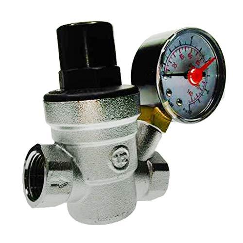 Homyl Einstellbarer Druckminderer Druckregler Druckventil mit Manometer für Wasser - DN15