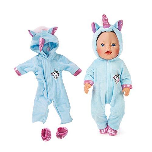 Amycute 43 cm la Ropa de la Muñeca del Traje del Unicornio con los Zapatos para Las Muñecas del Bebé Recién Nacido Girl Doll del Bebé(Rosa) (Azul)
