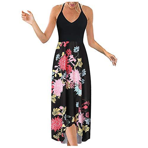 riou Vestido Mujer Bohemio Largo Verano Floral Bolsillos Impresos Vestido de oscilación Ocasional de Sundress Vestidos Cóctel Falda Larga Vestido Playa