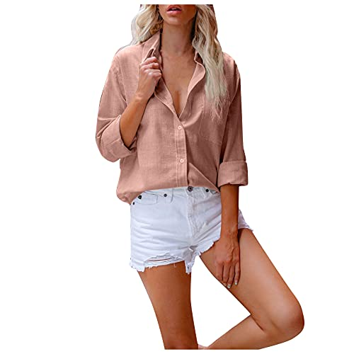 Algodón y Lino Camisetas Manga Larga Mujer de Color Sólido Blusas Mujer de Solapa con Botones Camisas de...