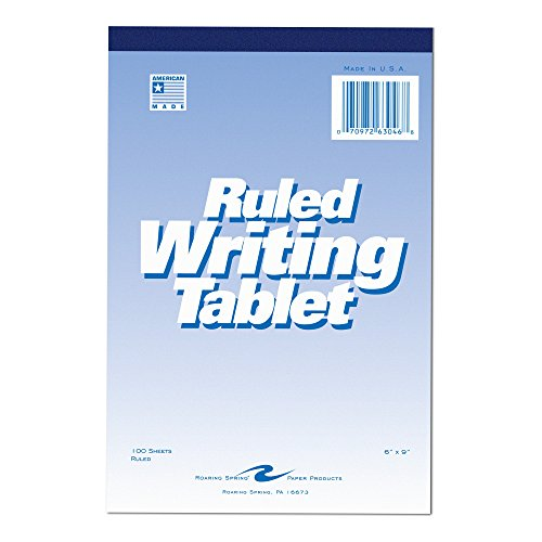 Roaring Spring Paper Products Writing Tablet, 6 x 9 Inches, 100 Sheets, Wide, White (ROA63046)