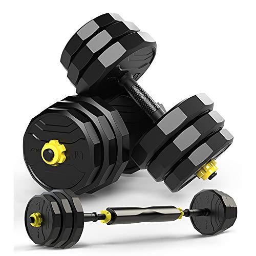 Qhxxtxjis 2in1 Verstellbare Hantel, Einstellbares Gewicht Kombination Ausrüstung,Übungsgewichte Für Kern- Und Krafttraining Mit Pleuelhantel,Schwarz,10kg