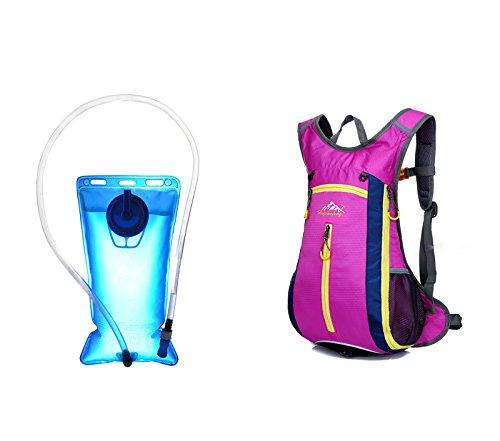 Sac à dos d'hydratation imperméable de cyclisme + sac à eau 2L fuchsia 4353 4351