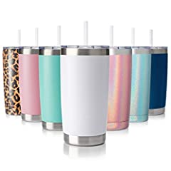 PREMIUM STAINLESS STEEL TUMBLER: is made from 18/8 food grade stainless steel, which is durable, electro polished on the inside to ensure your cups remain rust-free, and colored powder coated finish on the outside make it super easy-grip. the shape i...