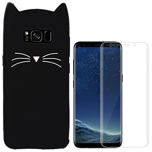 Hcheg Hülle für Samsung Galaxy S8 - 3D Silikon Backcover Hülle Handy Schutzhülle - Cover klar Katze Design Schwarz Weiß + 1X Screen Protector