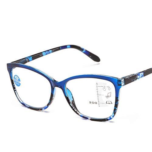 Anti-Blaulicht-Lesebrille für Männer und Frauen, ultraleichte progressive Multifokus-Lesebrille mit großem Rahmen TR90 zum Betrachten von Handys mit farbigen Blumenlesebrillen +100 bis +350,01,+200