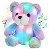 Glow Guards 8'' Musical Light up Rainbow Plush Teddy Bear LED Stuffed Light up Animals Soft Bed Pillow Night Lights Doll Holiday and Birthday Gifts for Kids