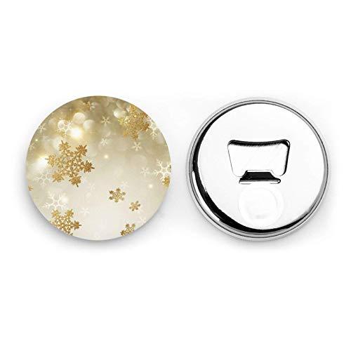 Abrebotellas redondos de Navidad de seda dorada / Imanes de nevera Etiqueta magnética de acero inoxidable 2 piezas