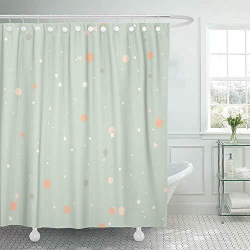 N\A Dekorative Duschvorhang Bunte Pastell-Zusammenfassung mit rosa grauen Punkten Kreise weiße Dreiecke Orange wasserdicht Mehltau widerstandsfähig Badezimmer Duschvorhänge Set mit Haken