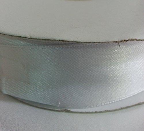 Rotolo bobina nastro da 25mm x 50 metri ,doppio raso x segnaposto, bomboniera, sacchettino, confetti (ckr25) (Bianco)