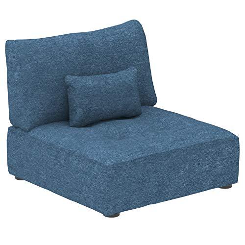 Marca Amazon -Alkove Elvas - Módulo uniplaza con almacenaje y cojín adicional para sofá modular, 93 x 100cm, azul marino