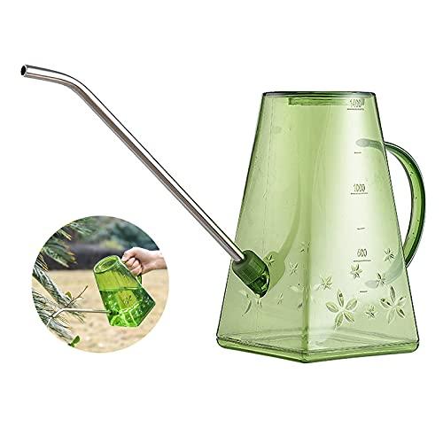 GLAITC Regadera para Plantas, 1,4 l Regadera de plástico con Boquilla Larga de Acero Inoxidable, rociador para Plantar Herramientas de riego de Plantas con Mango para jardinería en Interiores Green