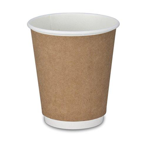 pack2go 500 Premium Doppelwand-Kaffeebecher - 8oz, 200ml, Recycling, Coffee to go Becher braun, Pappbecher, Becher to Go, Einwegbecher, Kaffeebecher