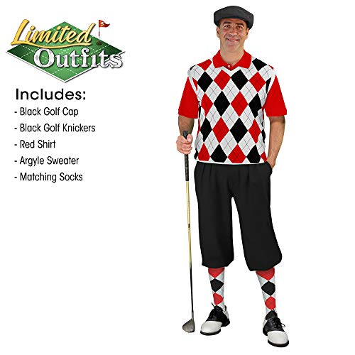 Golf Knickers Sweater Golf Outfits - Mens - Black White and Red - Size: 36 / Large Shirt and Sweater