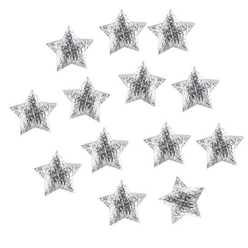 PINGPAI 100 pezzi oro argento panno di Natale cinque punte stella coriandoli decorazione casa 2 cm ornamento festoso regalo (argento)