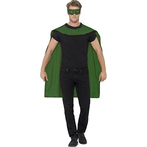 NET TOYS Capa y máscara de superhéroe Disfraz Salvador Verde Manto S