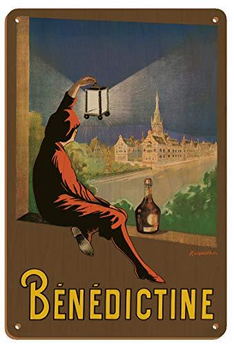 Letrero artístico de madera vintage de Leonetto Cappiello de licor bénédictino de Leonetto Cappiello de 1928 a 8 pulgadas x 30 cm